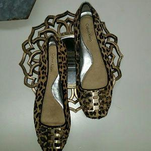 Calvin Klein leopard calfskin flats size 7